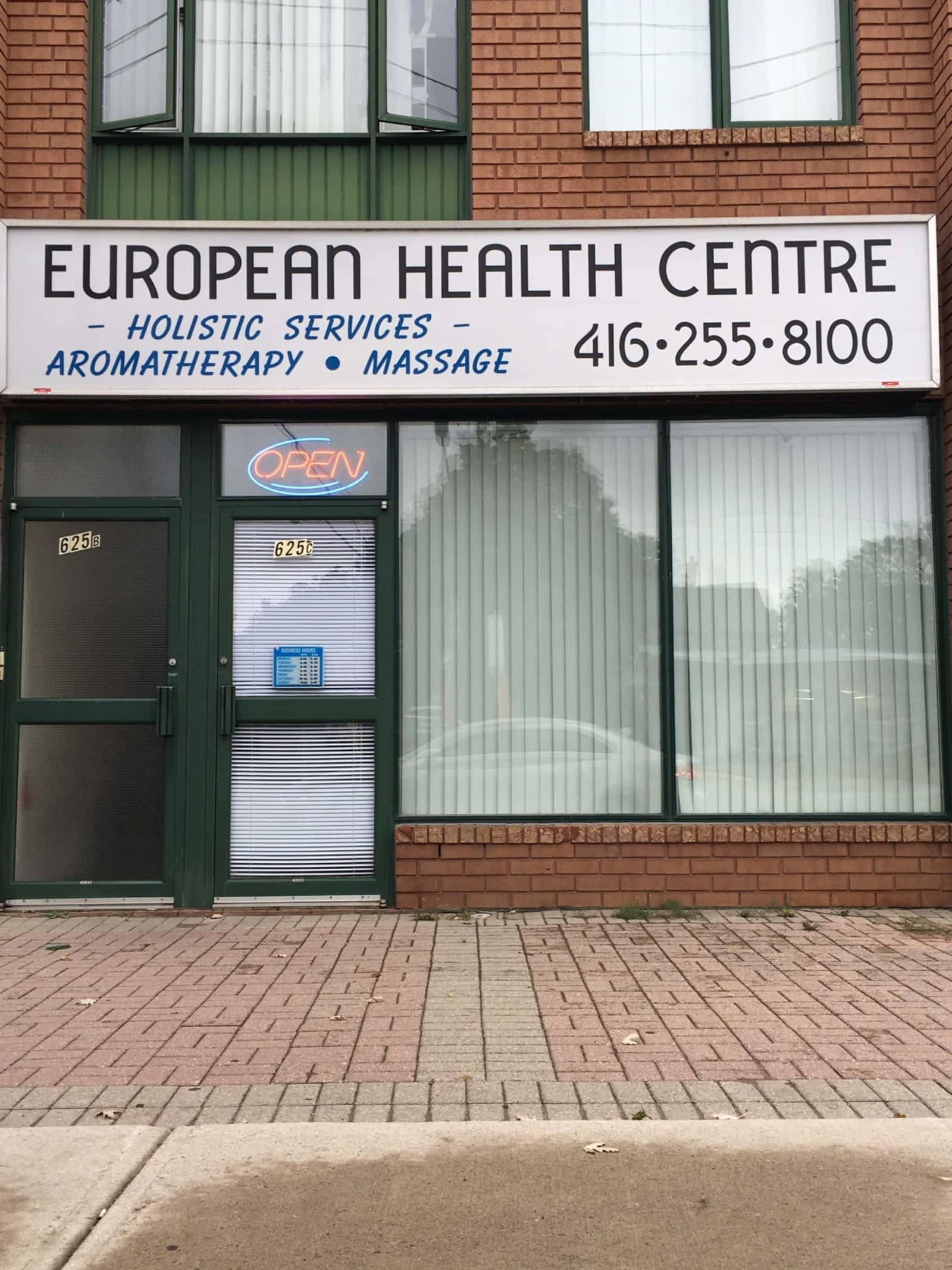 european health center storefront massage parlour